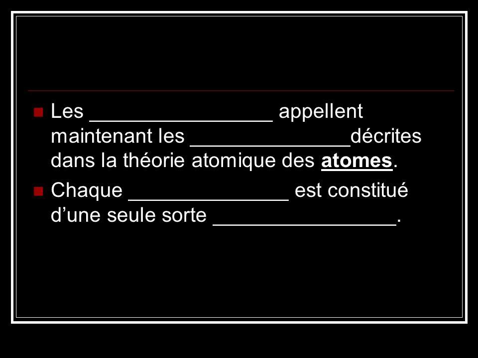 Les ________________ appellent maintenant les ______________décrites dans la théorie atomique des atomes.