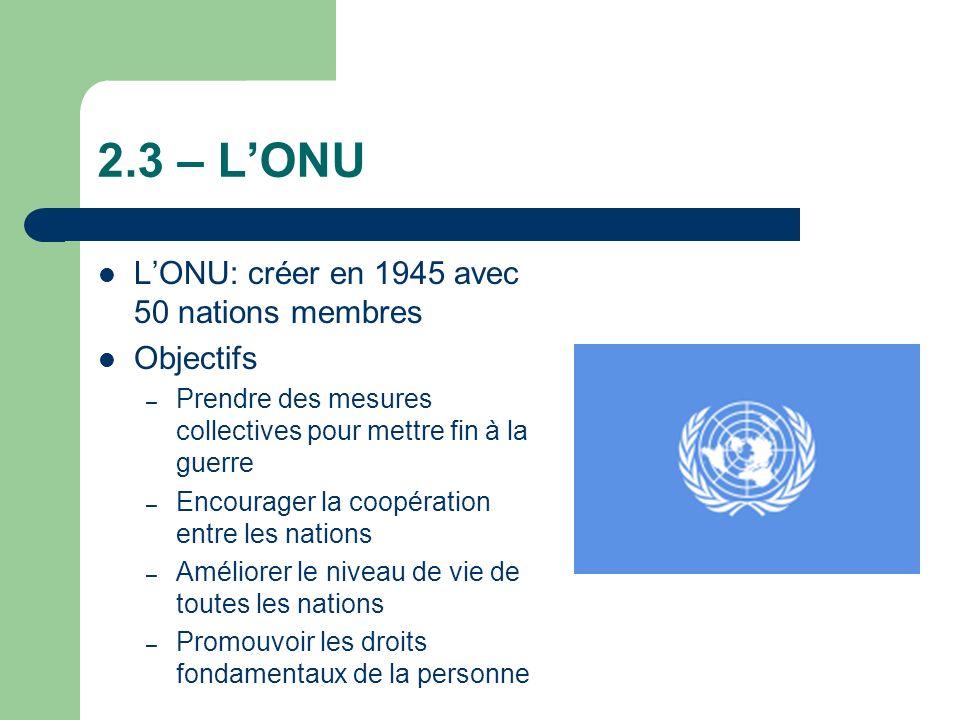 2.3 – LONU LONU: créer en 1945 avec 50 nations membres Objectifs – Prendre des mesures collectives pour mettre fin à la guerre – Encourager la coopération entre les nations – Améliorer le niveau de vie de toutes les nations – Promouvoir les droits fondamentaux de la personne
