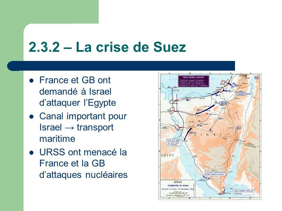 2.3.2 – La crise de Suez France et GB ont demandé à Israel dattaquer lEgypte Canal important pour Israel transport maritime URSS ont menacé la France et la GB dattaques nucléaires