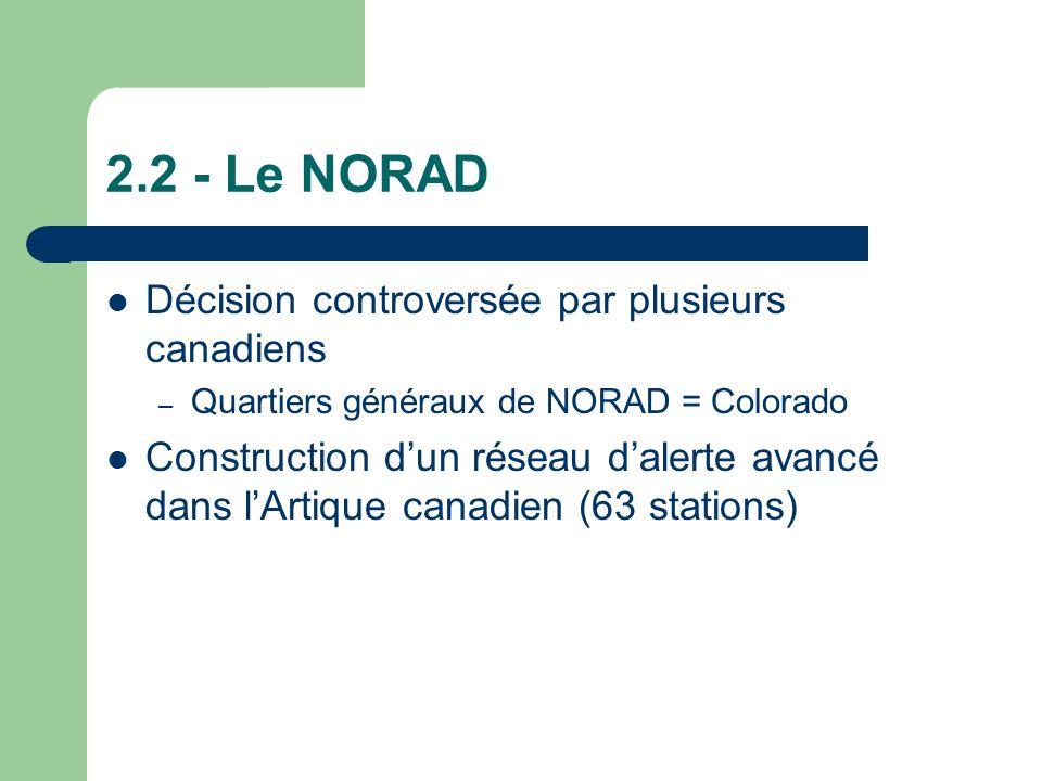 2.2 - Le NORAD Décision controversée par plusieurs canadiens – Quartiers généraux de NORAD = Colorado Construction dun réseau dalerte avancé dans lArtique canadien (63 stations)