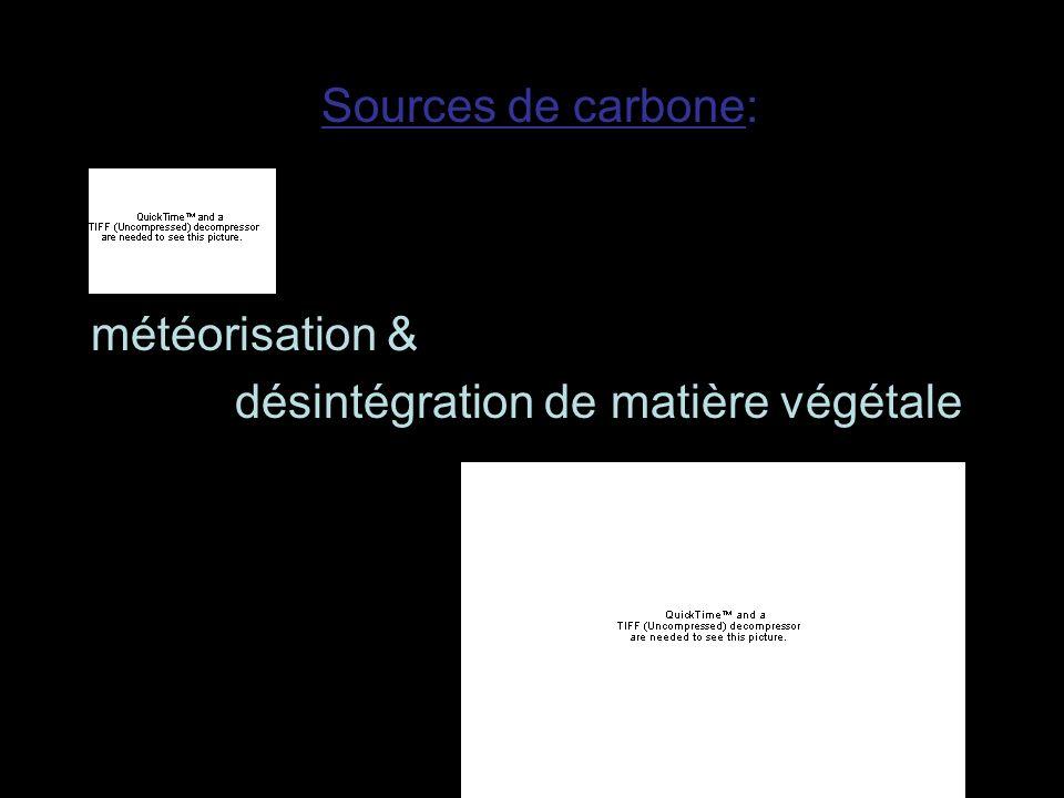 météorisation & désintégration de matière végétale Sources de carbone: