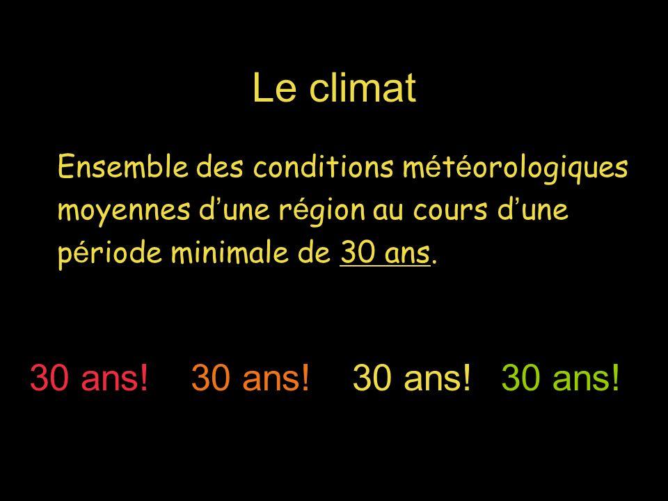 Le climat Ensemble des conditions m é t é orologiques moyennes d une r é gion au cours d une p é riode minimale de 30 ans. 30 ans!