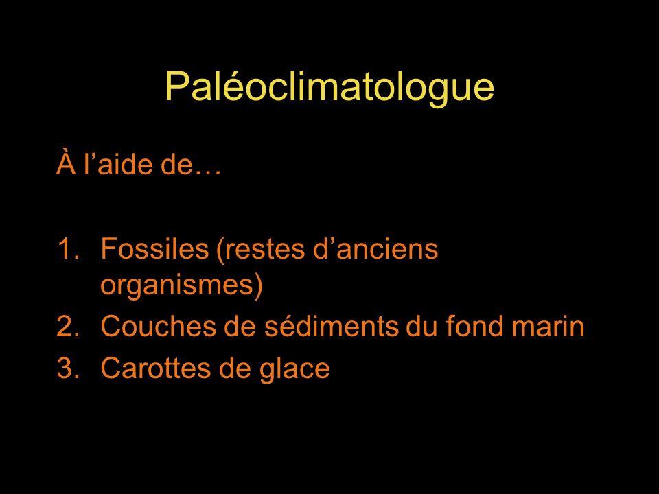Paléoclimatologue À laide de… 1.Fossiles (restes danciens organismes) 2.Couches de sédiments du fond marin 3.Carottes de glace