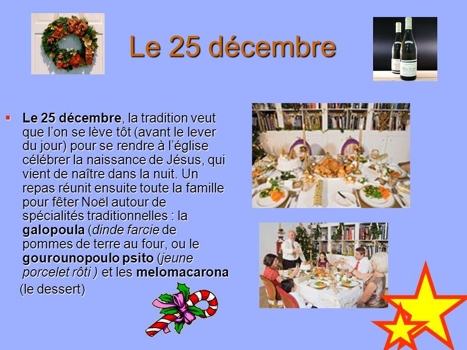 Le 25 décembre Le 25 décembre, la tradition veut que lon se lève tôt (avant le lever du jour) pour se rendre à léglise célébrer la naissance de Jésus,