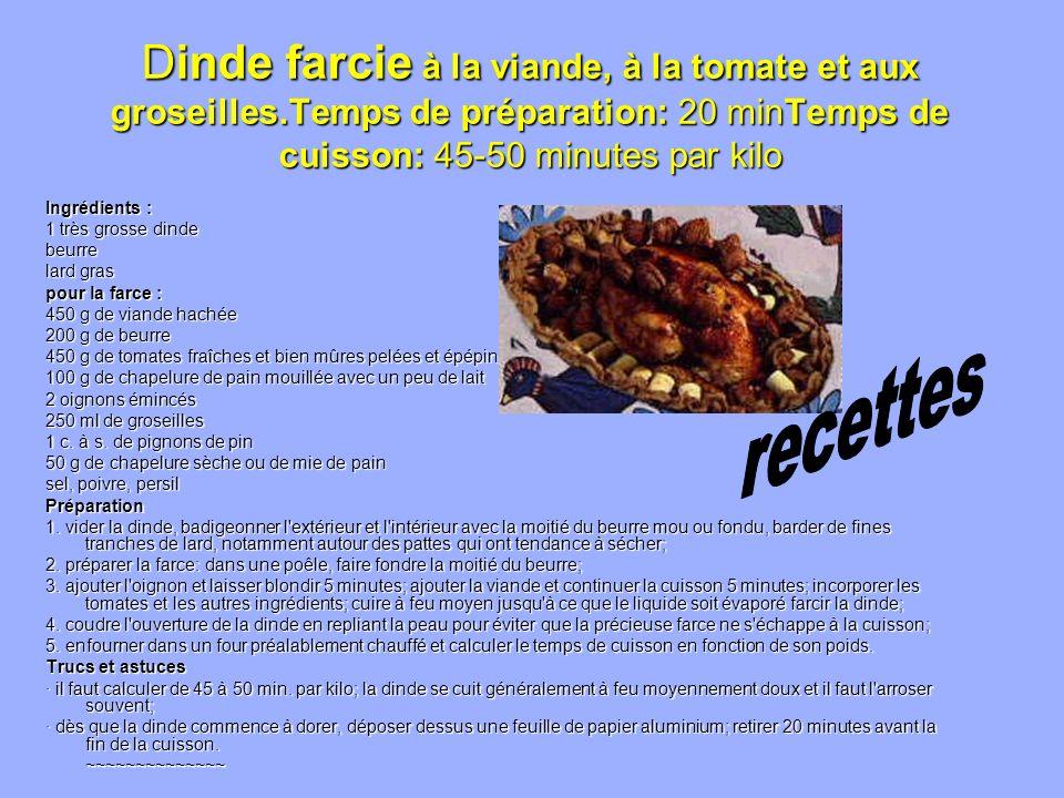 Dinde farcie à la viande, à la tomate et aux groseilles.Temps de préparation: 20 minTemps de cuisson: 45-50 minutes par kilo Ingrédients : 1 très gros