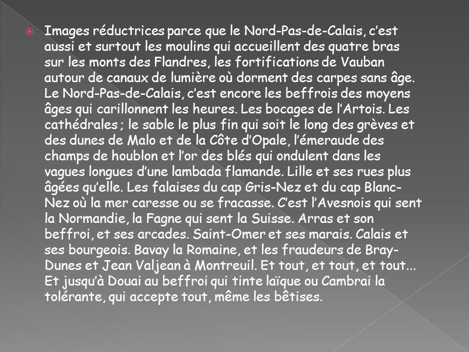 Superficie: 12 414 km Bordure littorale: 140 km Population: 4 032 000 millions dhabitants(les Chtis) Relief: la plaine de Flandre, les collines de lArtois Climat: tempéré influencé par lAtlantique Départements: 2 (Nord, Pas-deCalais) Chef-lieu: Lille Villes importantes: Lille, Arras, Bethune, Lens,Douai Boulogne-sur-mer, Dunkuerque, Calais.