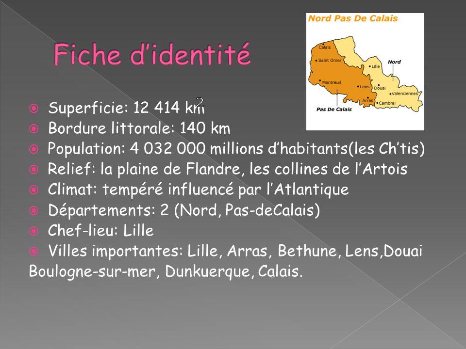 Superficie: 12 414 km Bordure littorale: 140 km Population: 4 032 000 millions dhabitants(les Chtis) Relief: la plaine de Flandre, les collines de lAr