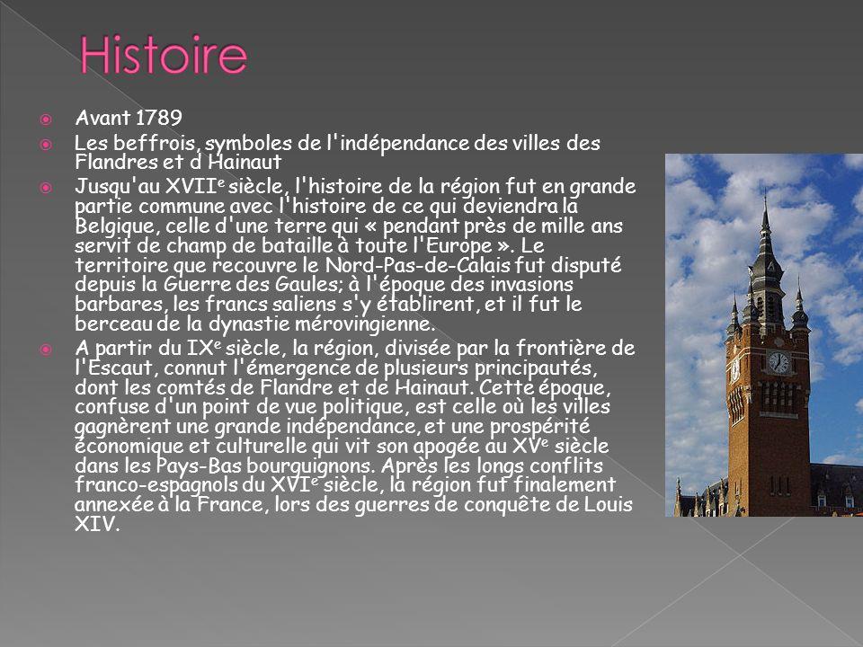 Avant 1789 Les beffrois, symboles de l'indépendance des villes des Flandres et d Hainaut Jusqu'au XVII e siècle, l'histoire de la région fut en grande
