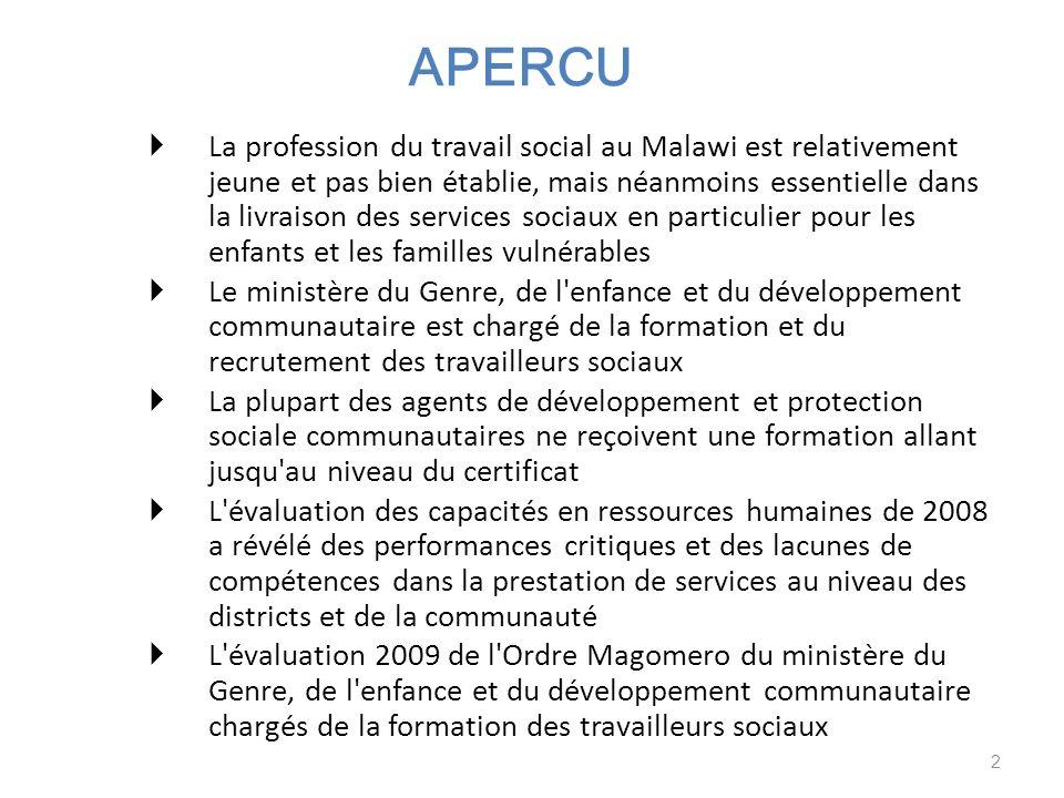 APERCU La profession du travail social au Malawi est relativement jeune et pas bien établie, mais néanmoins essentielle dans la livraison des services sociaux en particulier pour les enfants et les familles vulnérables Le ministère du Genre, de l enfance et du développement communautaire est chargé de la formation et du recrutement des travailleurs sociaux La plupart des agents de développement et protection sociale communautaires ne reçoivent une formation allant jusqu au niveau du certificat L évaluation des capacités en ressources humaines de 2008 a révélé des performances critiques et des lacunes de compétences dans la prestation de services au niveau des districts et de la communauté L évaluation 2009 de l Ordre Magomero du ministère du Genre, de l enfance et du développement communautaire chargés de la formation des travailleurs sociaux 2