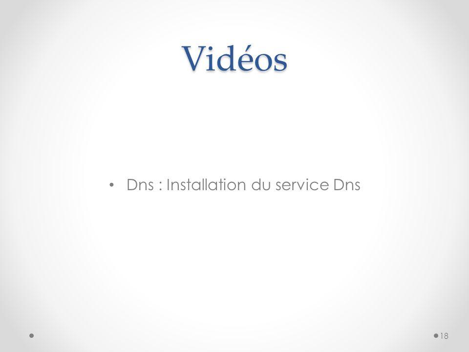 Vidéos Dns : Installation du service Dns 18