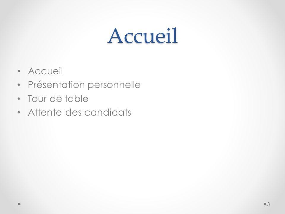 Accueil Accueil Présentation personnelle Tour de table Attente des candidats 3
