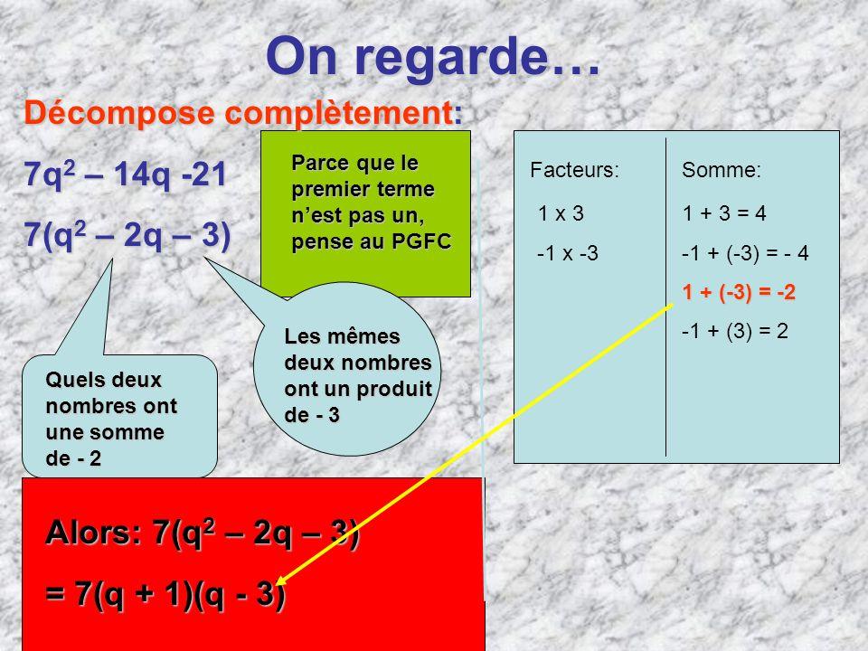 On regarde… Décompose complètement: 7q 2 – 14q -21 7(q 2 – 2q – 3) Quels deux nombres ont une somme de- 2 Quels deux nombres ont une somme de - 2 Les