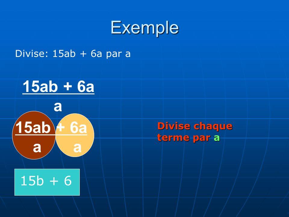 Exemple Divise: 15ab + 6a par a 15ab + 6a a 15ab + 6a a a Divise chaque terme par a 15b + 6