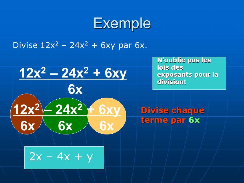Exemple Divise 12x 2 – 24x 2 + 6xy par 6x.