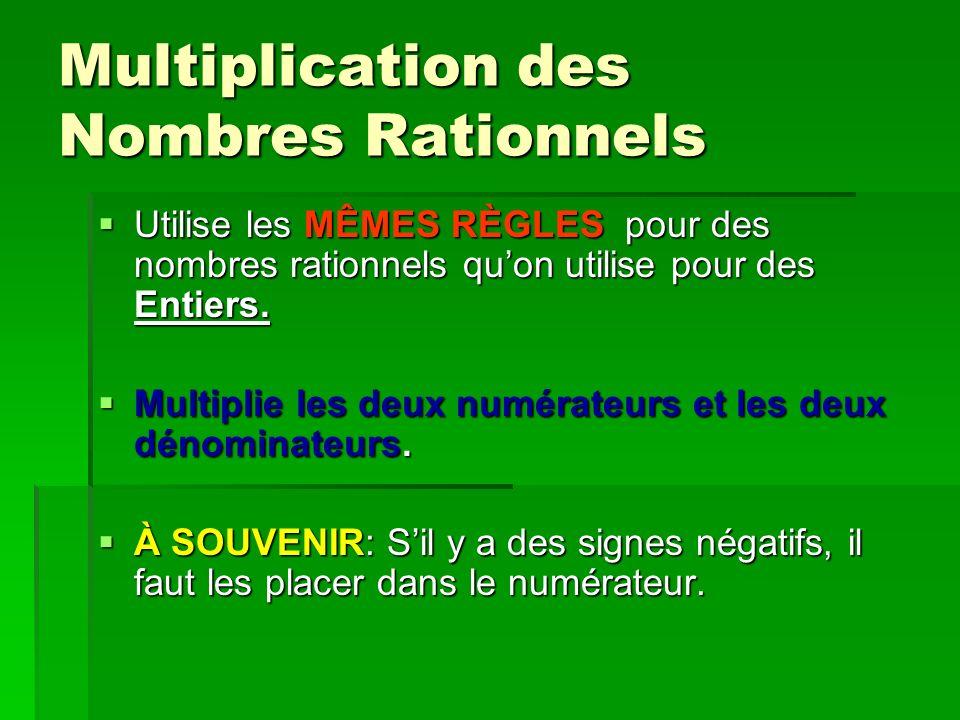 Multiplication des Nombres Rationnels Utilise les MÊMES RÈGLES pour des nombres rationnels quon utilise pour des Entiers. Utilise les MÊMES RÈGLES pou