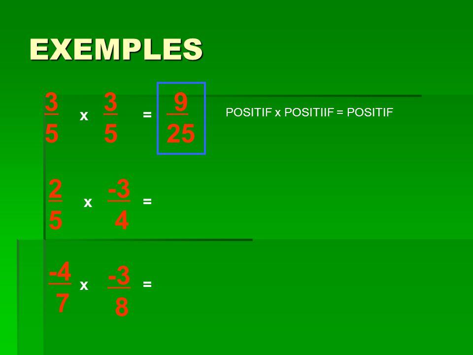 EXEMPLES 3535 x x= 3535 2525 -3 4 -4 7 -3 8 x = = 9 25 POSITIF x POSITIIF = POSITIF