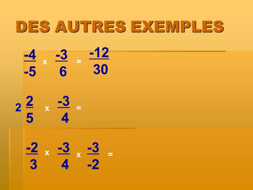 DES AUTRES EXEMPLES -4 -5 x x= -3 6 2525 -3 4 -2 3 -3 4 x = = 2 -3 -2 x -12 30