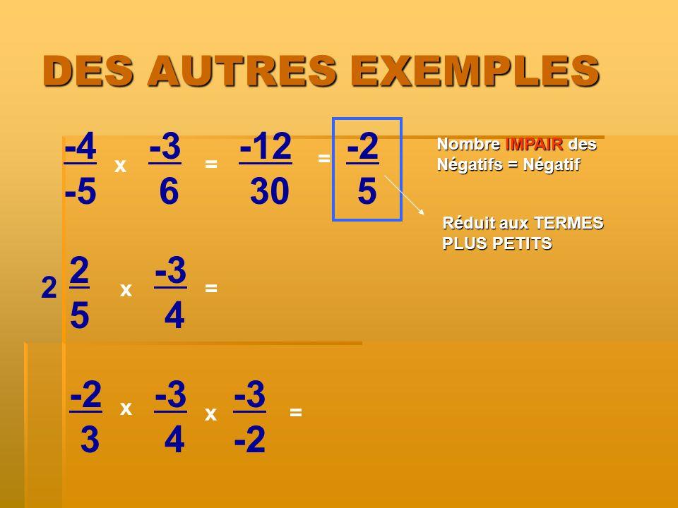 DES AUTRES EXEMPLES -4 -5 x x= -3 6 2525 -3 4 -2 3 -3 4 x = = 2 -3 -2 x -12 30 = -2 5 Nombre IMPAIRdes Négatifs = Négatif Nombre IMPAIR des Négatifs =