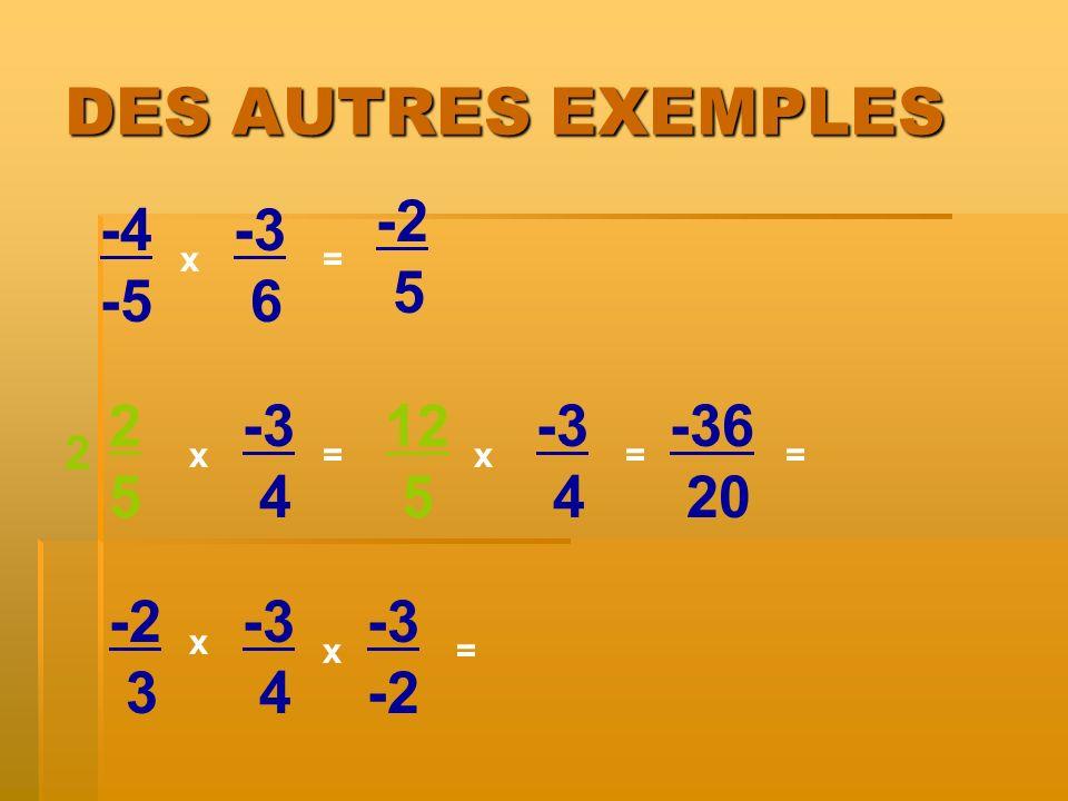 DES AUTRES EXEMPLES -4 -5 x x= -3 6 2525 -3 4 -2 3 -3 4 x = = 2 -3 -2 x 5 12 5 -3 4 x= -36 20 =