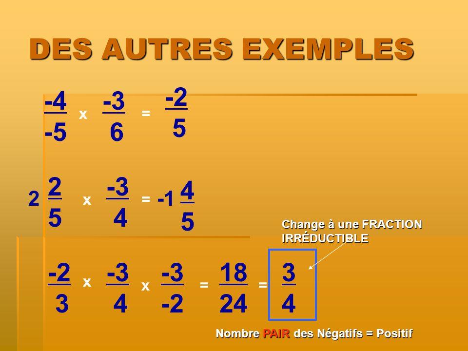 DES AUTRES EXEMPLES -4 -5 x x= -3 6 2525 -3 4 -2 3 -3 4 x = = 2 -3 -2 x 5 4545 18 24 = 3434 Change à une FRACTION IRRÉDUCTIBLE Nombre PAIRdes Négatifs