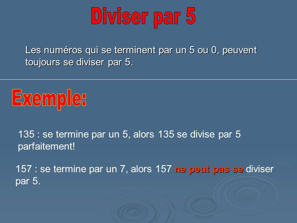 Les numéros qui se terminent par un 5 ou 0, peuvent toujours se diviser par 5. 135 : se termine par un 5, alors 135 se divise par 5 parfaitement! ne p