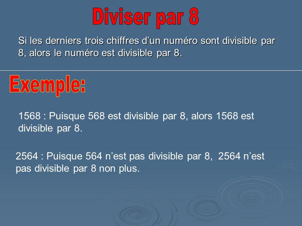 Si les derniers trois chiffres dun numéro sont divisible par 8, alors le numéro est divisible par 8. 1568 : Puisque 568 est divisible par 8, alors 156