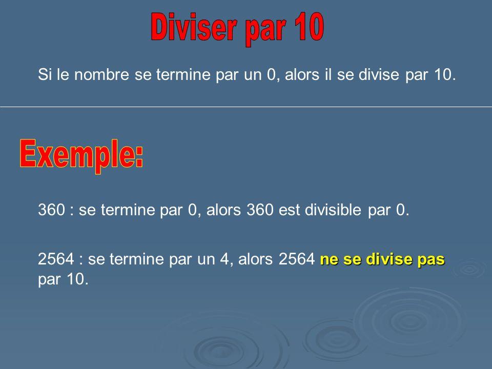 Si le nombre se termine par un 0, alors il se divise par 10. 360 : se termine par 0, alors 360 est divisible par 0. ne se divise pas 2564 : se termine