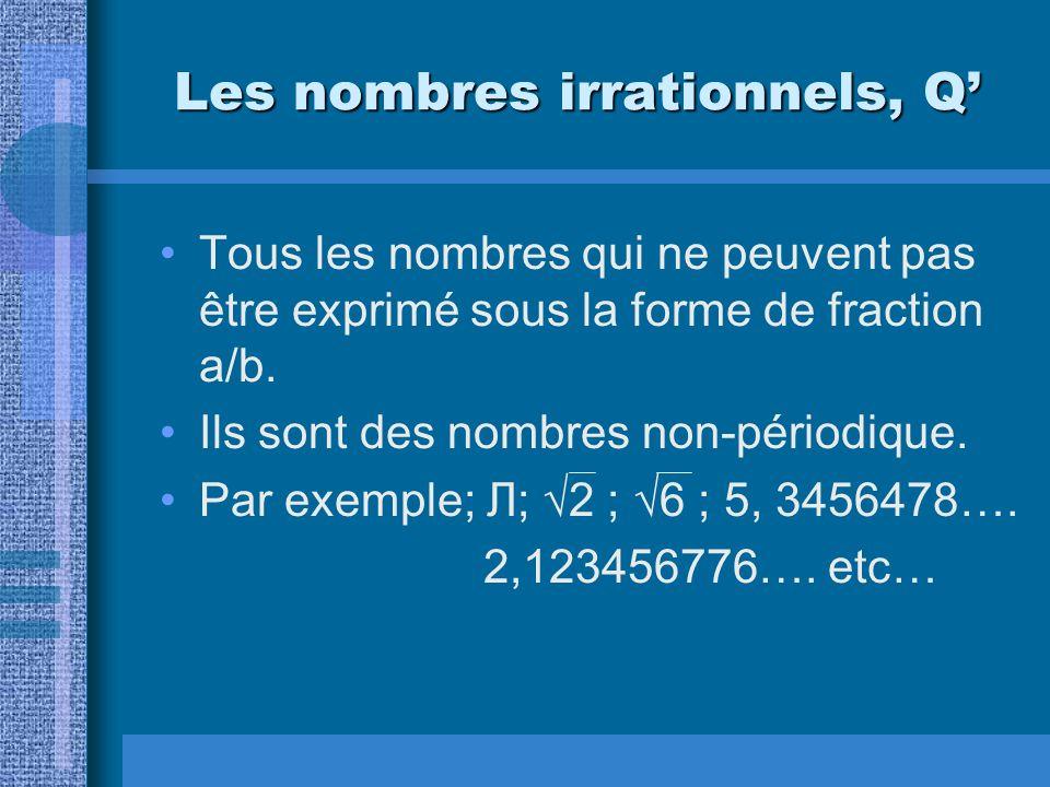 Les nombres irrationnels, Q Tous les nombres qui ne peuvent pas être exprimé sous la forme de fraction a/b. Ils sont des nombres non-périodique. Par e