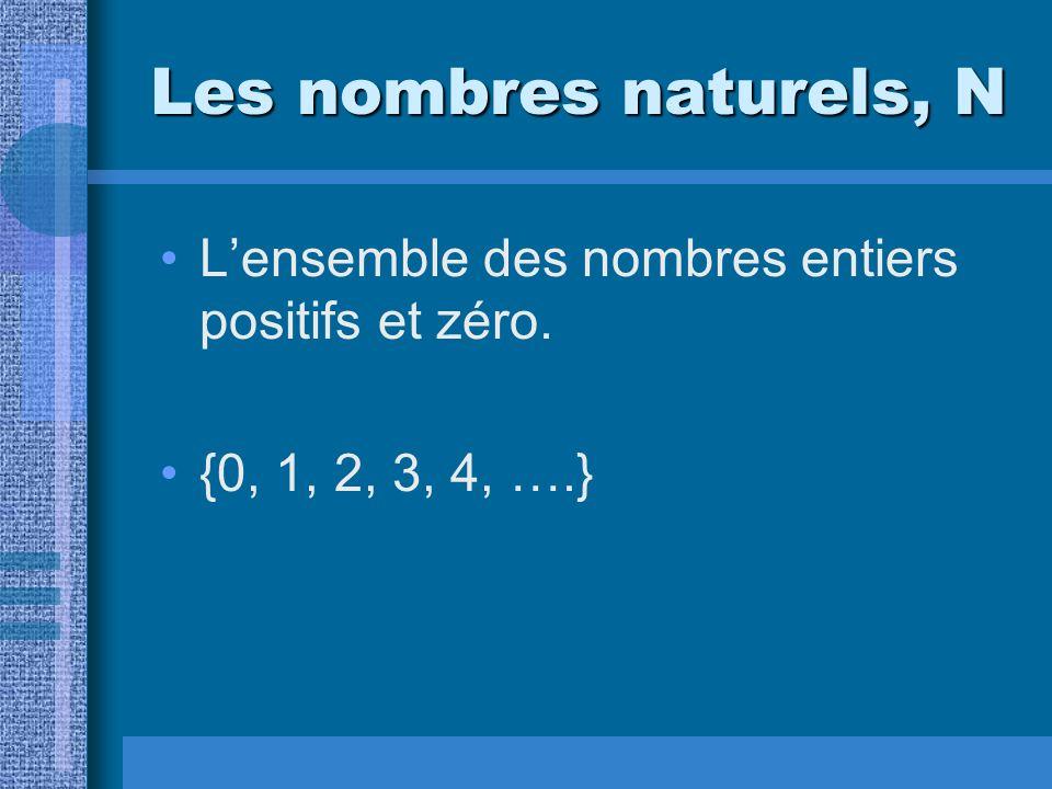 Les nombres naturels, N Lensemble des nombres entiers positifs et zéro. {0, 1, 2, 3, 4, ….}
