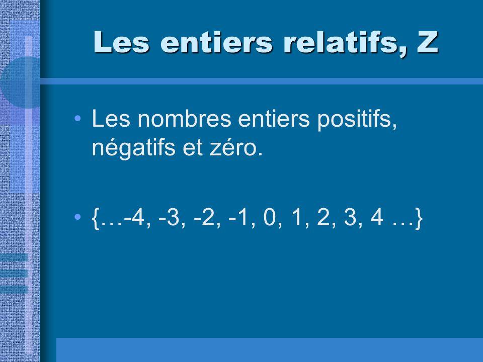 Les entiers relatifs, Z Les nombres entiers positifs, négatifs et zéro. {…-4, -3, -2, -1, 0, 1, 2, 3, 4 …}