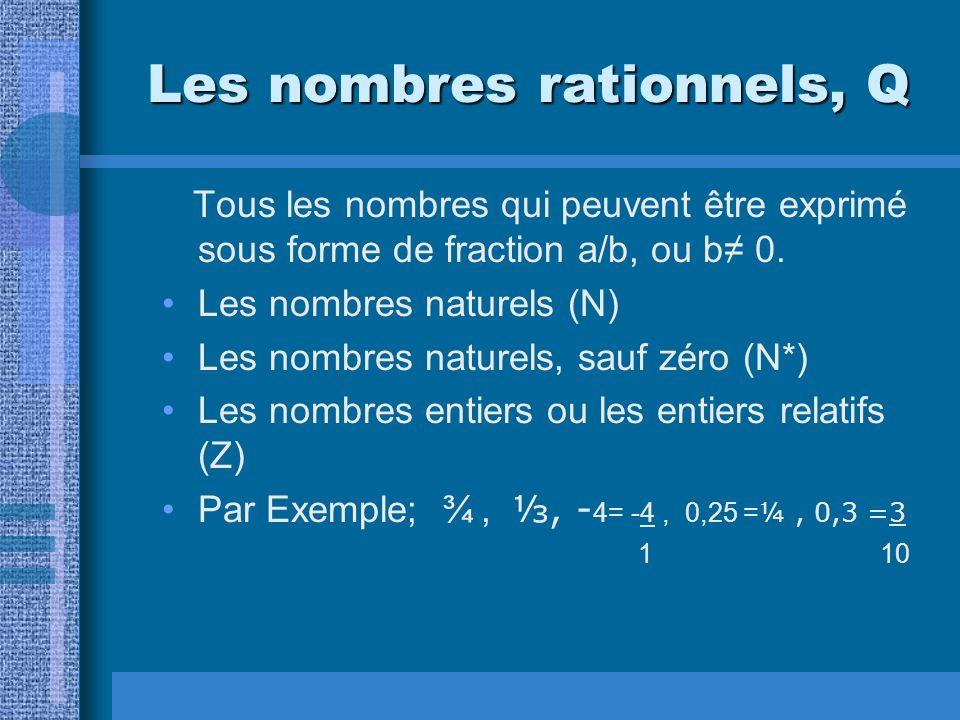 Les nombres rationnels, Q Tous les nombres qui peuvent être exprimé sous forme de fraction a/b, ou b 0. Les nombres naturels (N) Les nombres naturels,