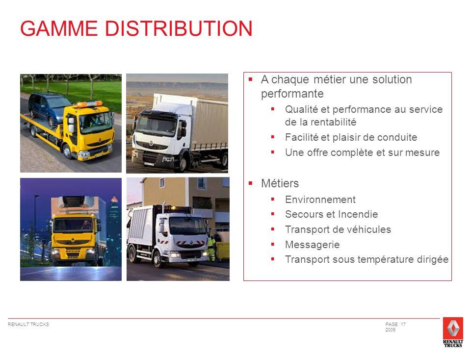 RENAULT TRUCKSPAGE 17 2009 A chaque métier une solution performante Qualité et performance au service de la rentabilité Facilité et plaisir de conduit