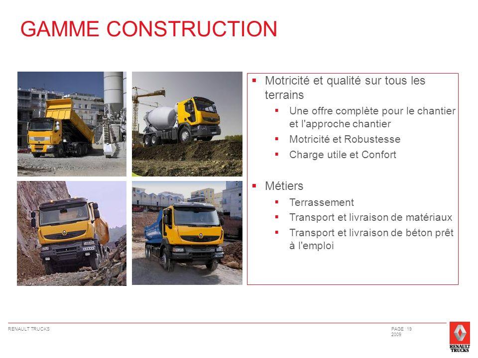 RENAULT TRUCKSPAGE 19 2009 Motricité et qualité sur tous les terrains Une offre complète pour le chantier et l'approche chantier Motricité et Robustes