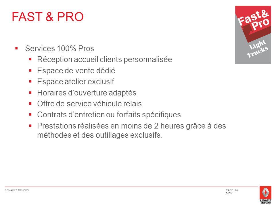 RENAULT TRUCKSPAGE 24 2009 FAST & PRO Services 100% Pros Réception accueil clients personnalisée Espace de vente dédié Espace atelier exclusif Horaire