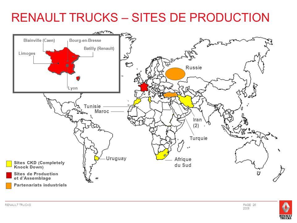 RENAULT TRUCKSPAGE 26 2009 RENAULT TRUCKS – SITES DE PRODUCTION Lyon Bourg-en-Bresse Batilly (Renault) Limoges Blainville (Caen) Sites CKD (Completely