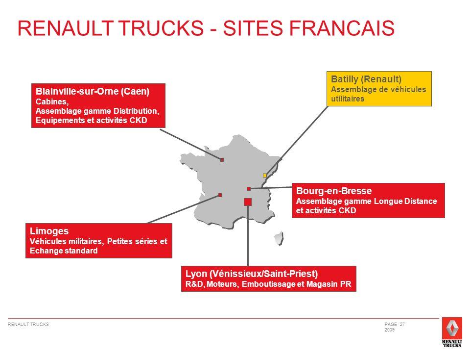 RENAULT TRUCKSPAGE 27 2009 RENAULT TRUCKS - SITES FRANCAIS Lyon (Vénissieux/Saint-Priest) R&D, Moteurs, Emboutissage et Magasin PR Limoges Véhicules m
