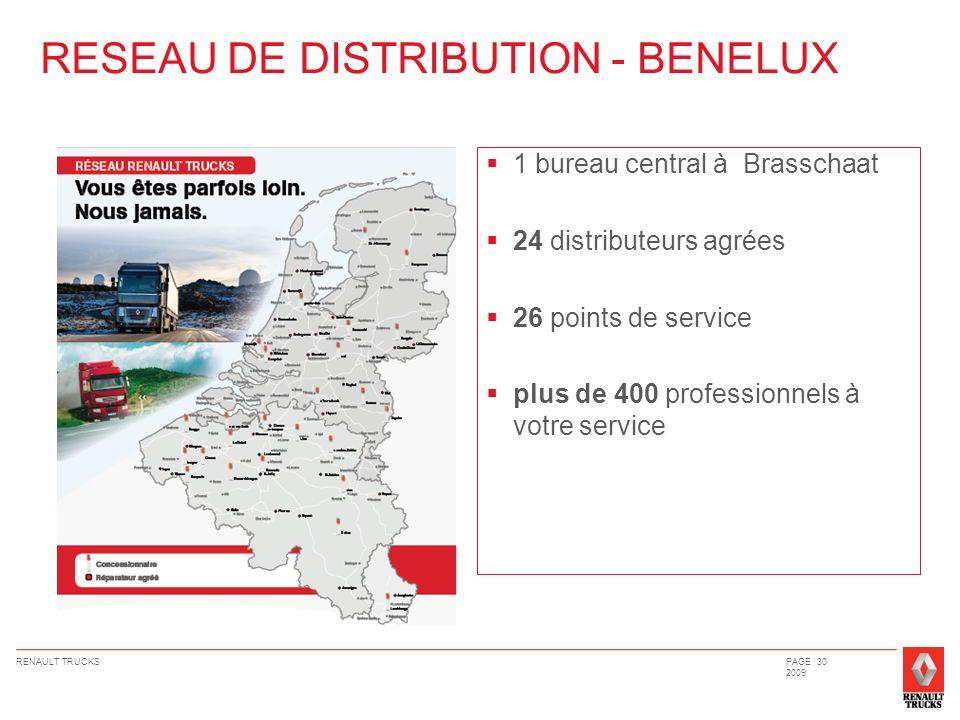 RENAULT TRUCKSPAGE 30 2009 1 bureau central à Brasschaat 24 distributeurs agrées 26 points de service plus de 400 professionnels à votre service RESEA