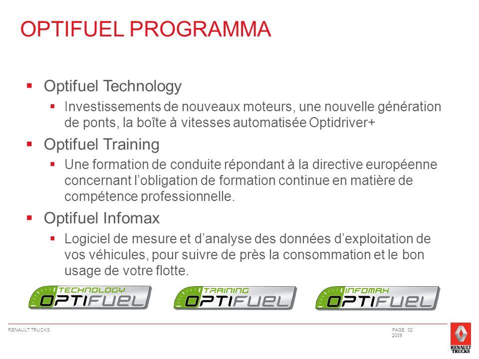 RENAULT TRUCKSPAGE 32 2009 OPTIFUEL PROGRAMMA Optifuel Technology Investissements de nouveaux moteurs, une nouvelle génération de ponts, la boîte à vi