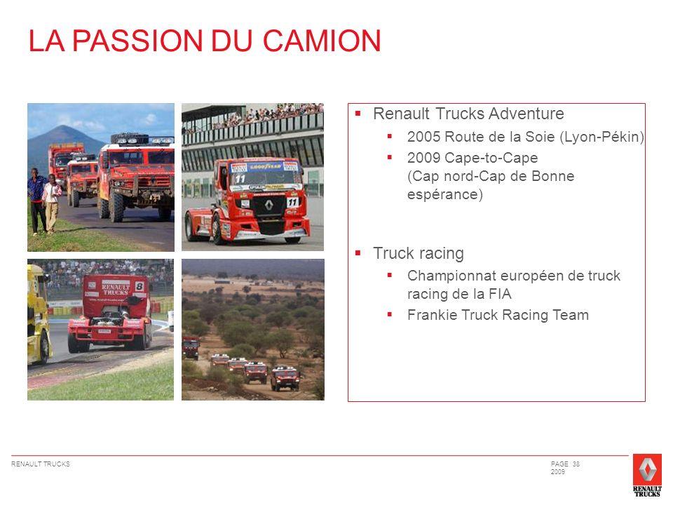 RENAULT TRUCKSPAGE 38 2009 Renault Trucks Adventure 2005 Route de la Soie (Lyon-Pékin) 2009 Cape-to-Cape (Cap nord-Cap de Bonne espérance) Truck racin
