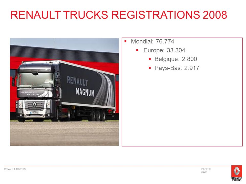 RENAULT TRUCKSPAGE 20 2009 GAMME CONSTRUCTION EURO V PTACPTRASILHOUETTESPUISSANCESUSAGE RENAULT PREMIUM LANDER 18/19T – 26T – 32T 32 à 80T 4x2 – 6x2 – 6x4 – 8x4 DXi7 : 270 ch ; 310 ch ; 340 ch DXi11 : 380 ch ; 430 ch ; 460 ch Approche chantier RENAULT KERAX 18/19T – 26T – 32T – 35T – 42T 40 à 120T 4x2 – 4x4 – 6x4 – 6x6 – 8x4 DXi11 : 380 ch ; 430 ch ; 460 ch DXi13 : 480 ch ; 520 ch Chantier