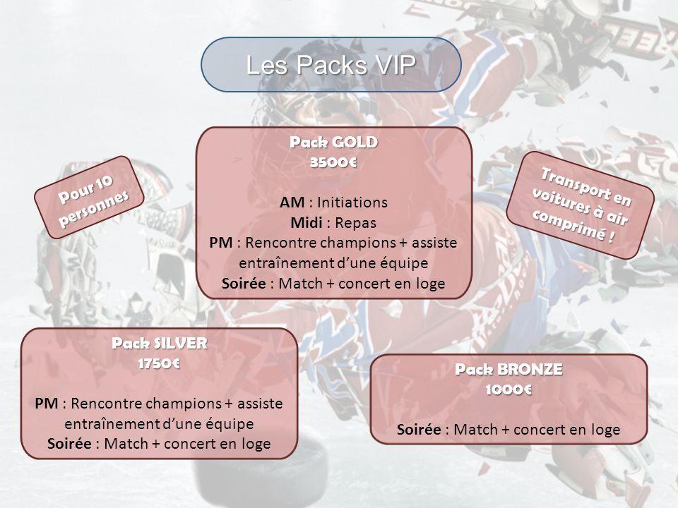 Les Packs VIP Pack GOLD 3500 AM : Initiations Midi : Repas PM : Rencontre champions + assiste entraînement dune équipe Soirée : Match + concert en log
