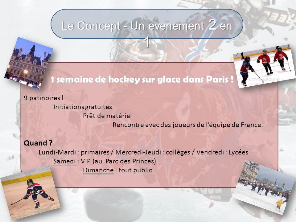 Le Concept - Un evenement 2 en 1 1 semaine de hockey sur glace dans Paris ! 1 semaine de hockey sur glace dans Paris ! 9 patinoires ! Initiations grat