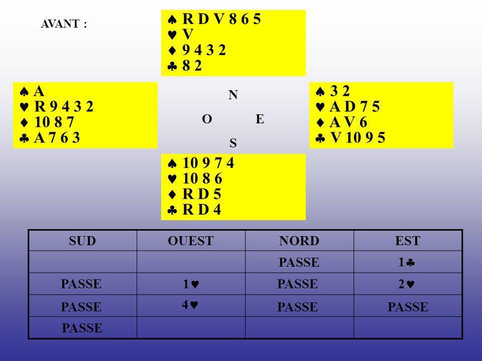 AVANT : R D V 8 6 5 V 9 4 3 2 8 2 3 2 A D 7 5 A V 6 V 10 9 5 10 9 7 4 10 8 6 R D 5 R D 4 A R 9 4 3 2 10 8 7 A 7 6 3 N O E S SUDOUESTNORDEST 1 PASSE 1