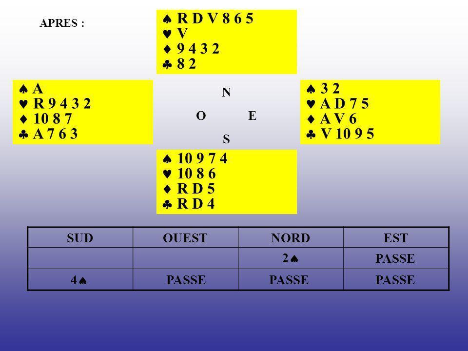 APRES : R D V 8 6 5 V 9 4 3 2 8 2 3 2 A D 7 5 A V 6 V 10 9 5 10 9 7 4 10 8 6 R D 5 R D 4 A R 9 4 3 2 10 8 7 A 7 6 3 N O E S SUDOUESTNORDEST 2 PASSE 4