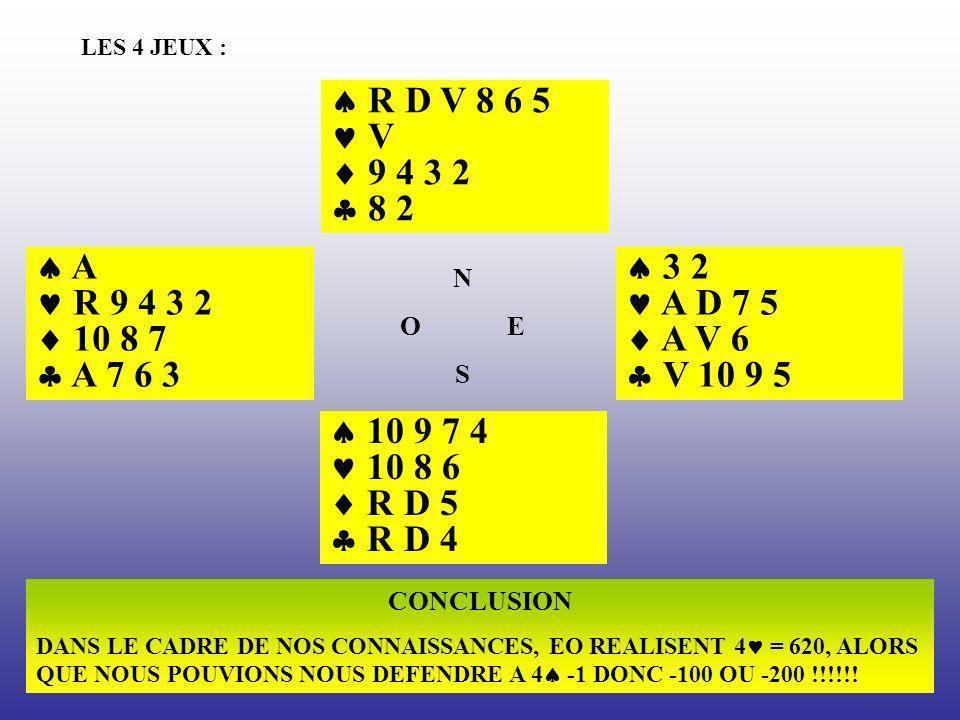 LES 4 JEUX : R D V 8 6 5 V 9 4 3 2 8 2 3 2 A D 7 5 A V 6 V 10 9 5 10 9 7 4 10 8 6 R D 5 R D 4 A R 9 4 3 2 10 8 7 A 7 6 3 N O E S CONCLUSION DANS LE CA