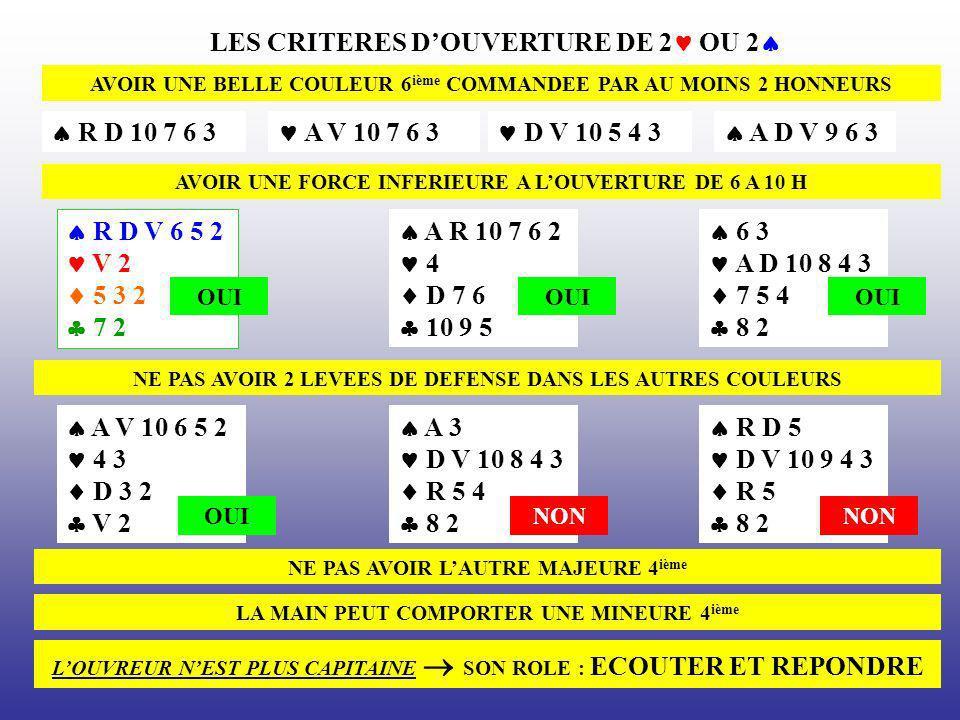 LES CRITERES DOUVERTURE DE 2 OU 2 AVOIR UNE BELLE COULEUR 6 ième COMMANDEE PAR AU MOINS 2 HONNEURS R D 10 7 6 3 A V 10 7 6 3 D V 10 5 4 3 A D V 9 6 3