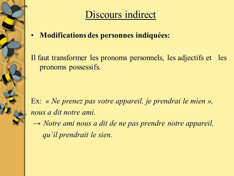 Discours indirect Modifications des personnes indiquées: Il faut transformer les pronoms personnels, les adjectifs et les pronoms possessifs.