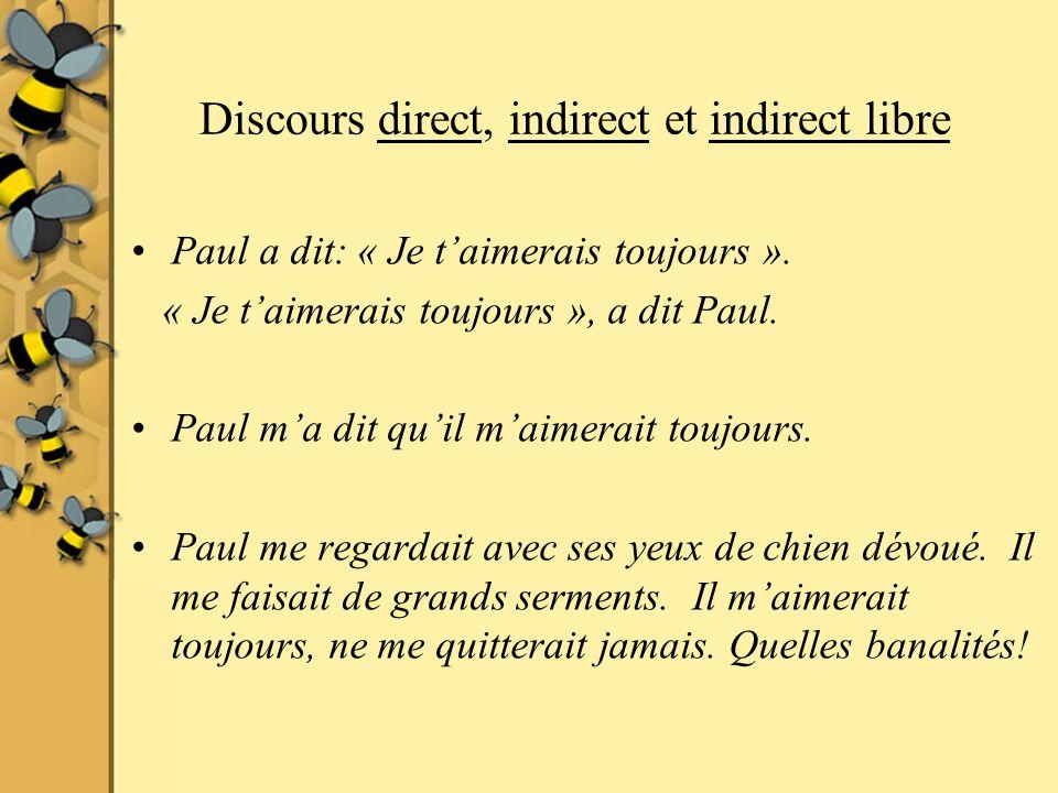 Discours direct, indirect et indirect libre Paul a dit: « Je taimerais toujours ».