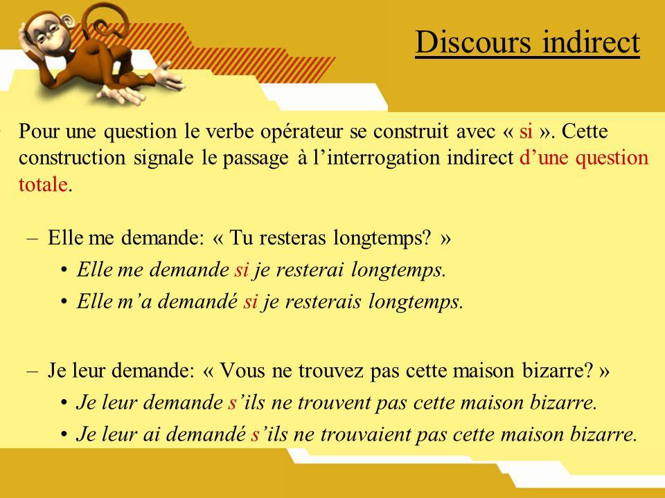 Discours indirect Pour une question le verbe opérateur se construit avec « si ». Cette construction signale le passage à linterrogation indirect dune