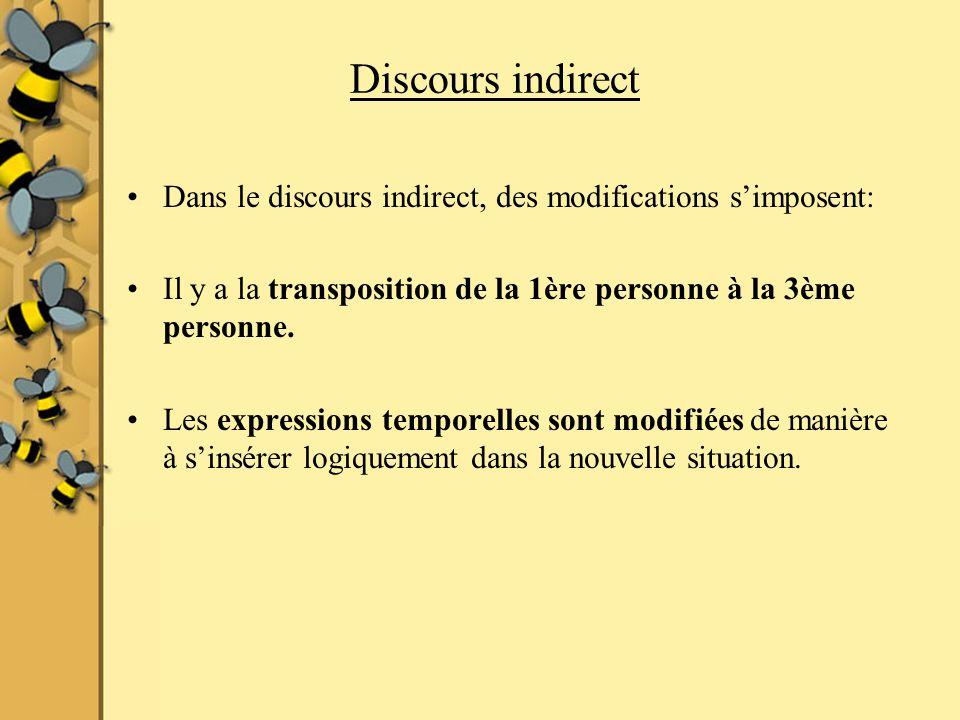 Discours indirect Dans le discours indirect, des modifications simposent: Il y a la transposition de la 1ère personne à la 3ème personne.